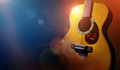 Guitar and blank grunge stage background Royalty Free Stock Photo