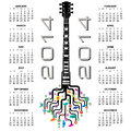 Guitar calendar a creative design for with a for print or web use Stock Image