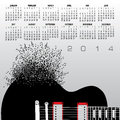 Guitar calendar monthly for the year with a creative illustration of a and musical notes Stock Photography