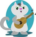 Guitar Cat Stock Photo