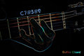 Guitar chord on a dark background stylized illustration of an x ray c Royalty Free Stock Image
