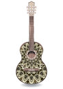 Guitar decorated with ethnic ornaments, design in the style of boho, oriental pattern. Royalty Free Stock Photo