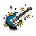 Guitar drawing vector Stock Photography