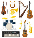 Guitar and drums, violin, lyre music instruments Royalty Free Stock Photo