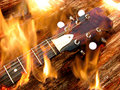 Guitar on Fire Stock Photography