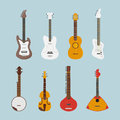 Guitar flat set. Vector icons. Royalty Free Stock Photo