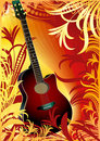 Guitar on floral background Stock Photography