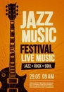 Vector Illustration poster flyer design template for Rock Jazz festival live music event with guitar in retro style on red backgro