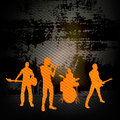 Guitar group illustration with a rock band against grunge wall background Royalty Free Stock Photo