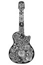 Guitar. Hand drawn floral patterned Royalty Free Stock Photo