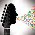Guitar headstock man Royalty Free Stock Photo