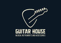 Guitar house outline logo