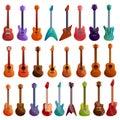 Guitar icons set, cartoon style Royalty Free Stock Photo