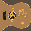Guitar illustration with notes Royalty Free Stock Photos