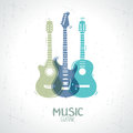 Guitar illustration with an silhouette three Royalty Free Stock Image
