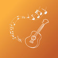 Guitar melody vector illustration of background simple white on orange Royalty Free Stock Images