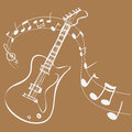 Guitar melody vector illustration of simple white on brown Royalty Free Stock Photography