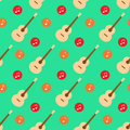 Guitar music note flat design pattern vector Royalty Free Stock Photo
