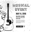 Guitar music poster. Hand drawn sketch. Vector illustration Royalty Free Stock Photo