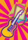 Abstract music theme with guitar vector illustration. Royalty Free Stock Photo