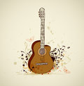 Guitar and notes music grunge background with Stock Photography