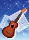 Guitar picture of an instruments and music note Royalty Free Stock Photography