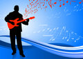 Guitar player on abstract blue background Royalty Free Stock Images