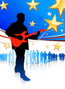 Guitar player on patriotic background Stock Photos