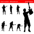 Guitar player silhouette set Royalty Free Stock Photo