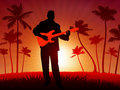 Guitar player on tropical sunset background Stock Photography