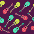 Guitar seamless pattern. Flat style design. Creative wallpaper for music school. Royalty Free Stock Photo