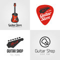 Guitar shop, music store set, collection of vector icon, symbol, emblem, logo, sign