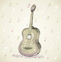 Guitar sketch acoustic on a beige background Stock Photo
