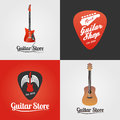 Guitar store, music shop collection of vector icon, symbol, emblem, logo Royalty Free Stock Photo