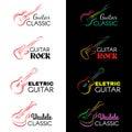 Guitar and ukulele line draw logo vector set design