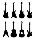 Guitar vector silhouettes. Rock, acoustic, electric guitars Royalty Free Stock Photo