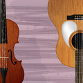 Guitar and violin icon abstract musical background Royalty Free Stock Images