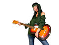 Guitar woman posing with an electric Royalty Free Stock Images