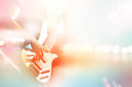 Guitarist bass on stage for background, colorful, pastel color Royalty Free Stock Photo