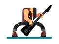 Guitarist character flat illustration