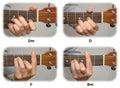 Guitarist hand playing guitar chords: Dm, D, F, Bm