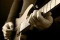 Guitarist hands Stock Image