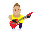 Guitarist illustration of man with musical instrument on white background Royalty Free Stock Photo