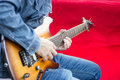Guitarist the is playing guitar Royalty Free Stock Photo