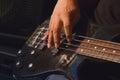 Guitarist plays solo closeup music Stock Photos
