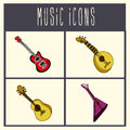 Guitars icons over cream background vector illustration Stock Images