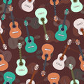 Guitars multicolored seamless pattern, musical background. Colorful drawn guitar on a purple brown . Vector illustration Royalty Free Stock Photo