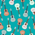 Guitars multicolored seamless pattern, musical background. Colorful drawn guitar on a turquoise . Vector illustration Royalty Free Stock Photo