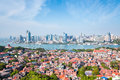 Gulangyu island with xiamen skyline in daytime aerial view of Royalty Free Stock Photography