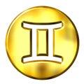 Guld- teckenzodiac för gemini 3d Royaltyfri Bild